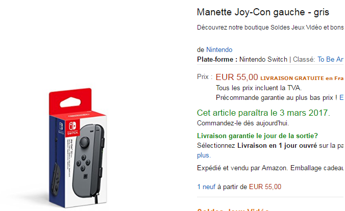 Nintendo Switch Joy Con Seul