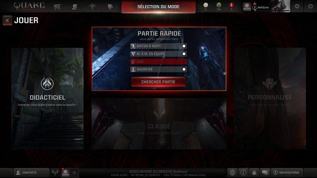 Quake Champions test PC